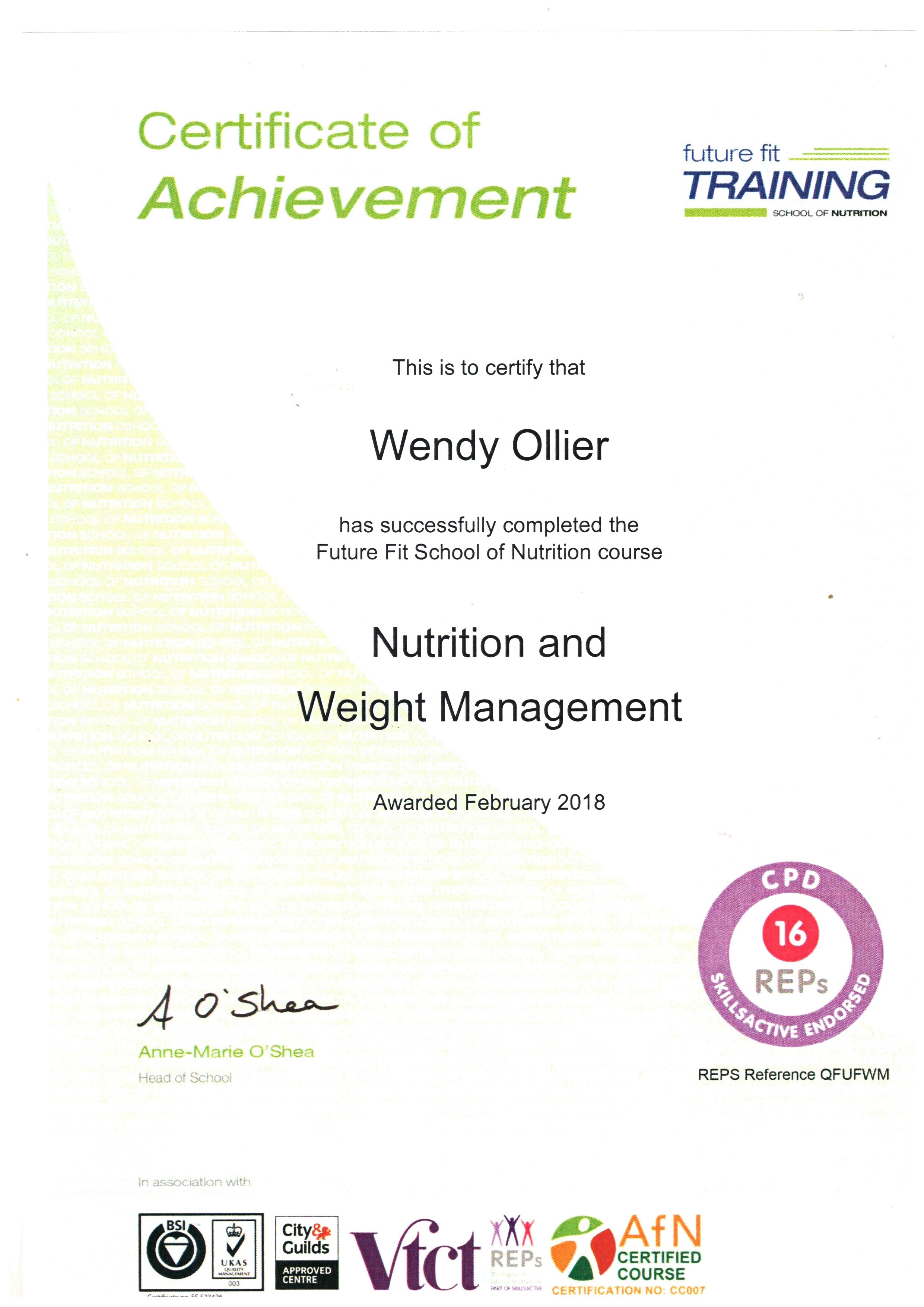 Nutritionist at nosc qualification 1