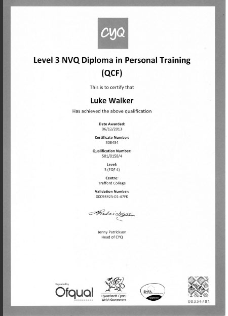personal trainer at nosc qualification 6
